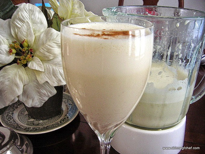 Sugar Free & Gluten Free Yogurt Almond Egg Nog in the blender