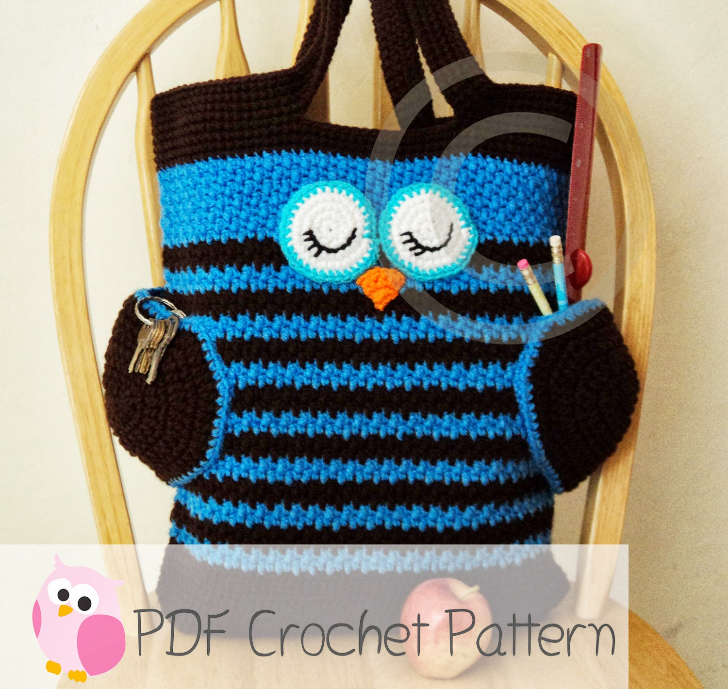 Crochet Patterns For Tote Bags : Cute Little Crafts: Crochet Pattern:Sleepy Owl Tote Bag