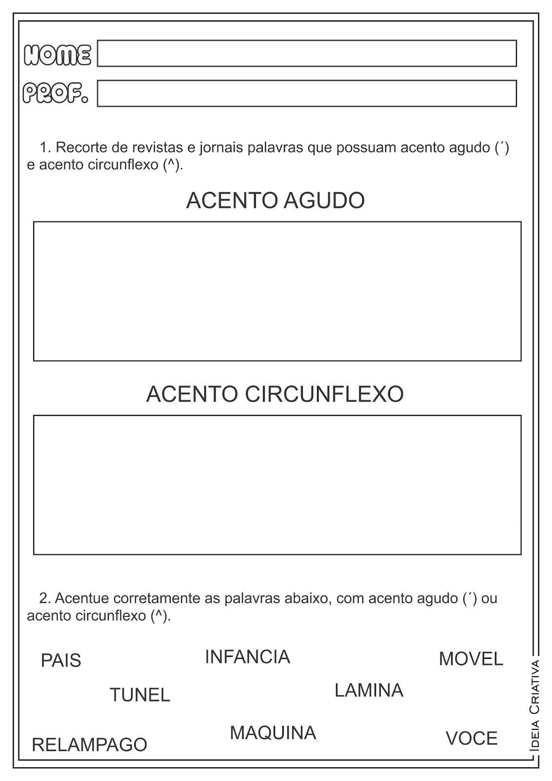 Atividades Acento Agudo e Circunflexo Língua Portuguesa para Ensino Fundamental
