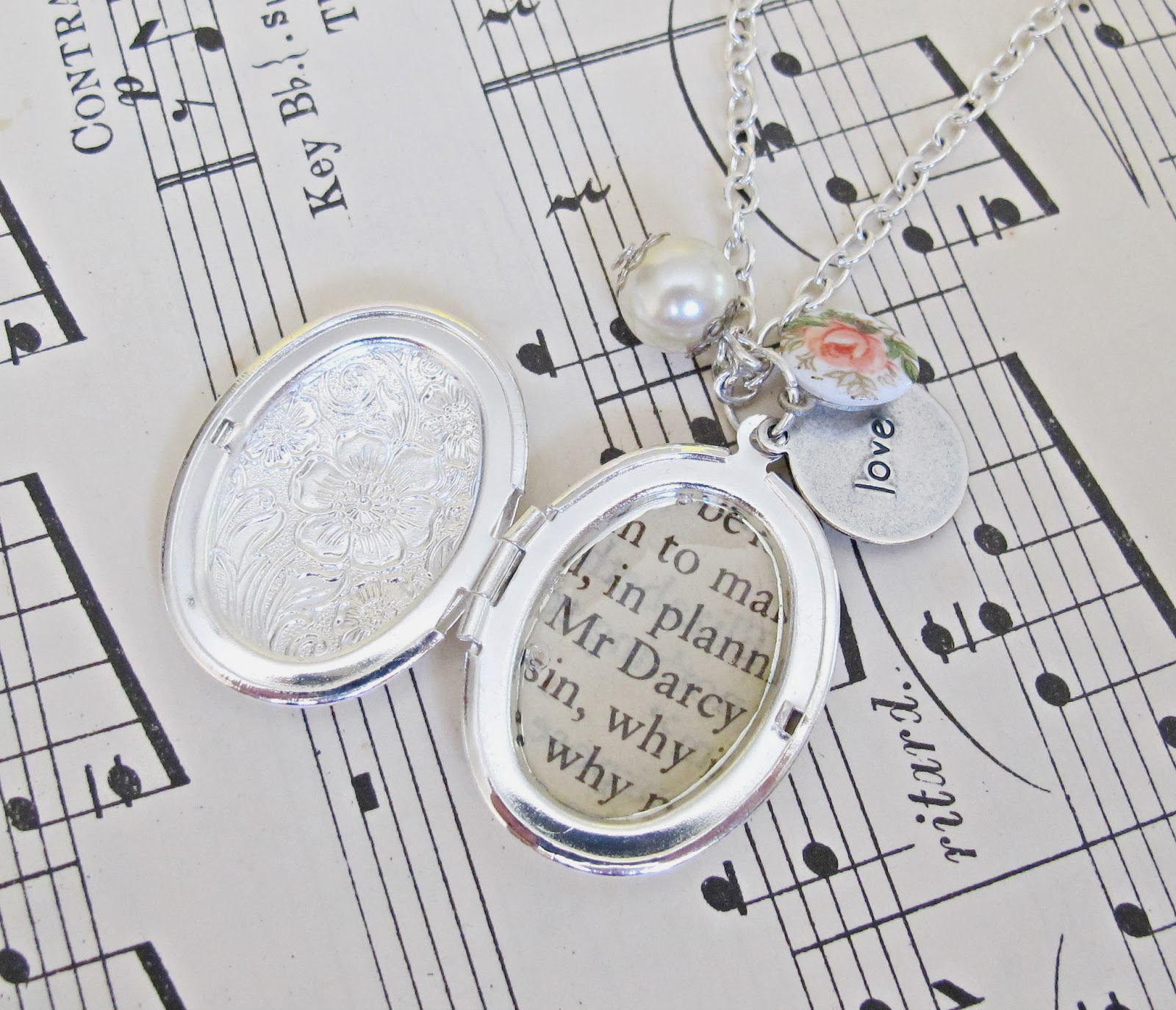 image mr darcy locket necklace two cheeky monkeys jane austen pride and prejudice silver plated love quote ivory glass pearl vintage rose cabochon porcelain