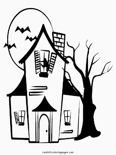 happy halloween haunted house coloring pages for kids
