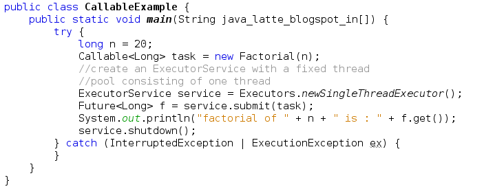 Java Latte Executor Executorservice Threadpool Callable Vs