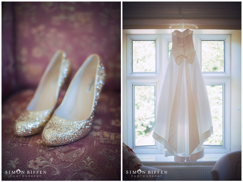 Bridal shoes and dress detail