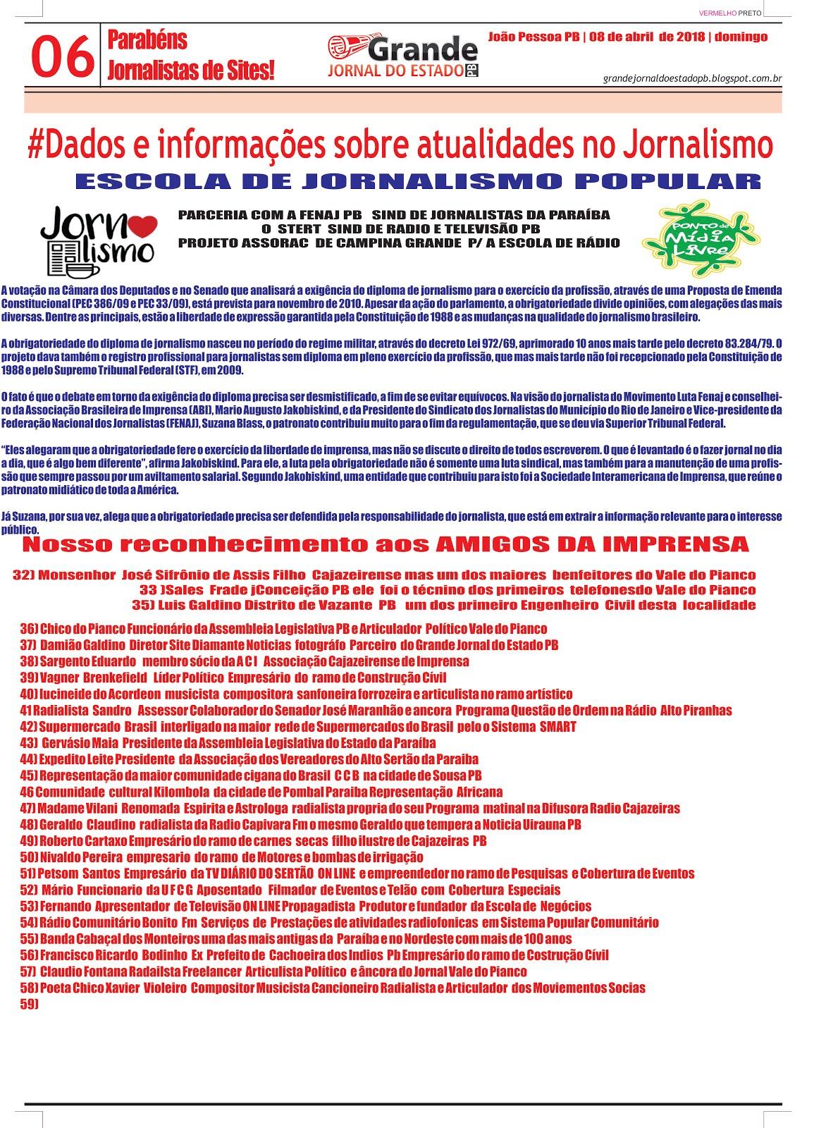 GRANDE JORNAL DO ESTADO PAGINAS  COM SUJEIÇÃO DE ALTERAÇÕES DEPOIS DA CORREÇÃO  FINAL