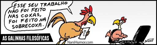 As galinhas filosóficas. trabalho feito nas coxas
