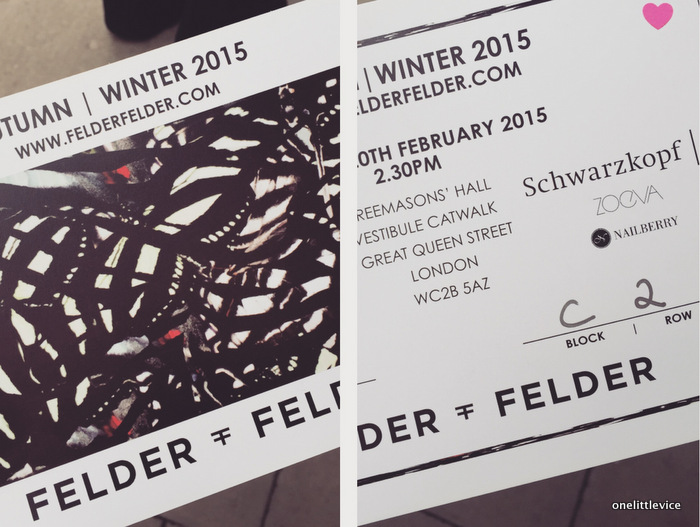 One little Vice beauty blog: blogger at London Fashion Week 15 Felder Felder