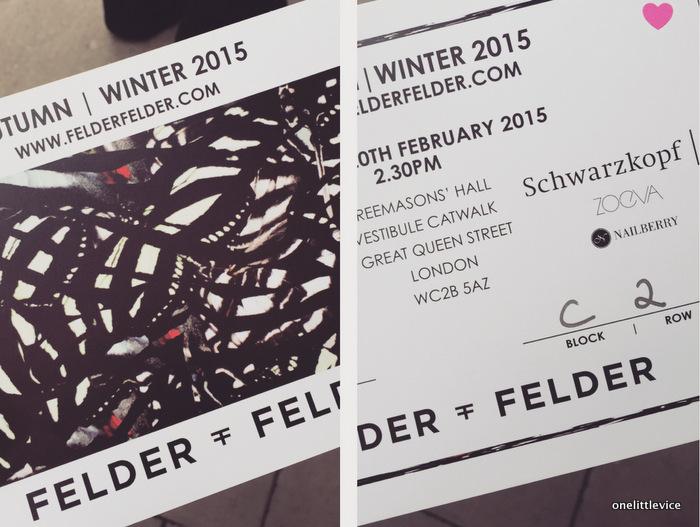 One little Vice beauty blog: blogger at London Fashion Week 15 Felder Felder