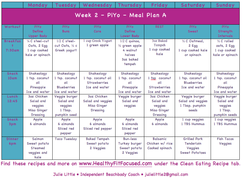 PiYo Week 2 Women's Progress Update and Meal Plan, Meal Plan