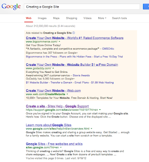 Results of Google search for Create A Google Site