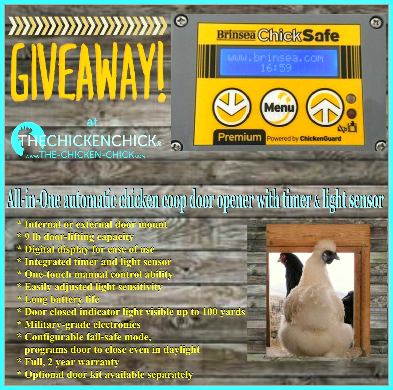 Brinsea ChickSafe Pop Door Opener GIveaway at The Chicken Chick®