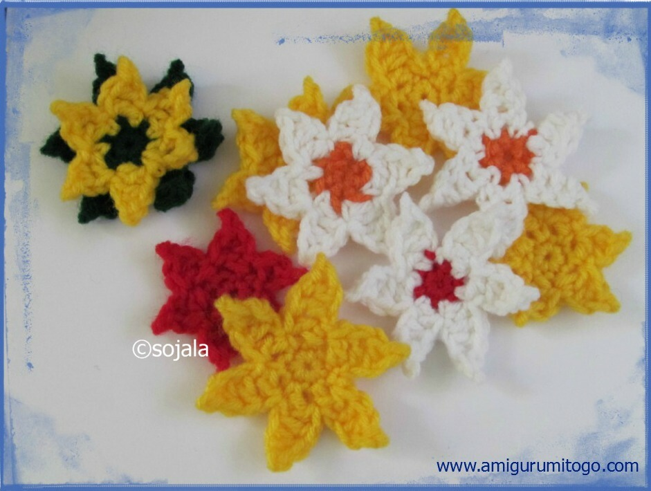 Amigurumi Flower Tutorial : 6 Point Star Crochet Pattern Applique Plus Magic Loop ...