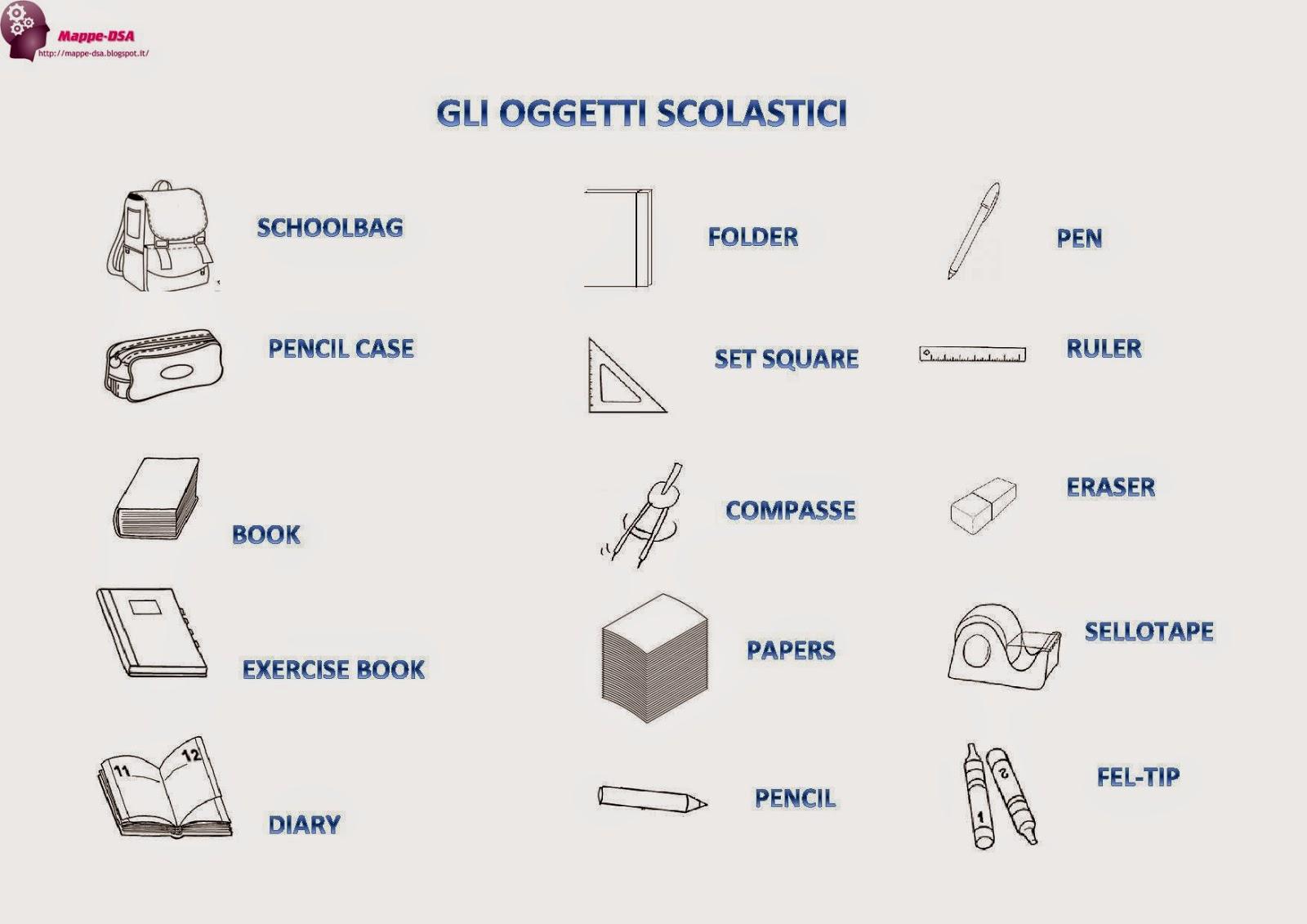 oggetti scuola inglese mappa dsa
