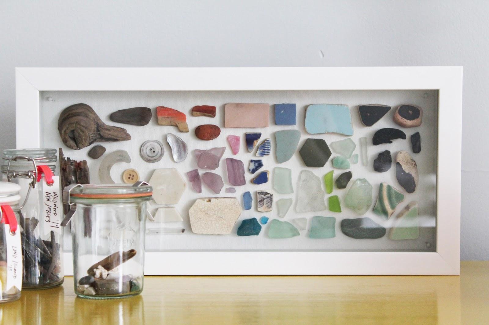 Make a sea glass shadowbox lindsey crafter for Beach glass interior designs