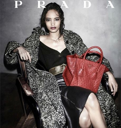 Prada's first black model in an ad campaign for 19 years