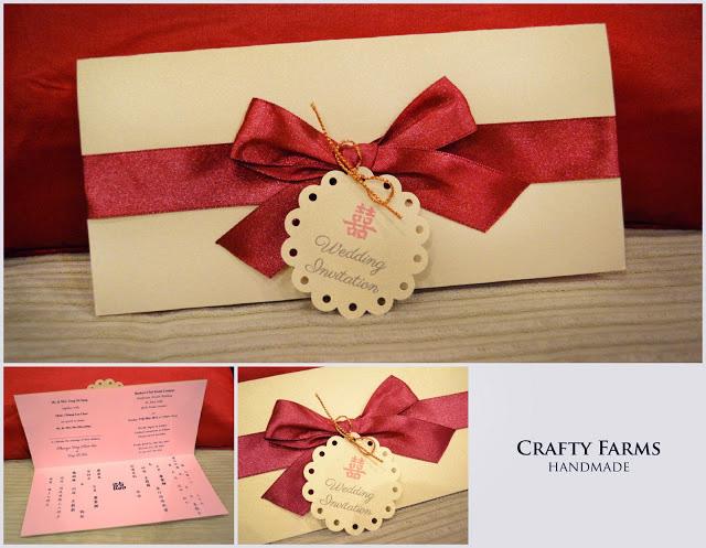 Wedding card malaysia crafty farms handmade red bow handmade red bow handmade wedding invitation card stopboris Image collections