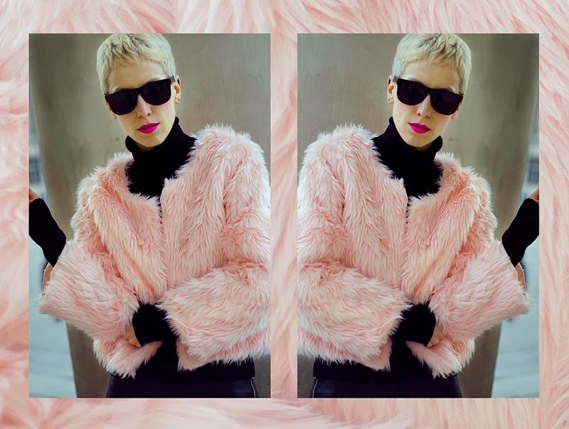 pink faux fur jacket beeswonderland
