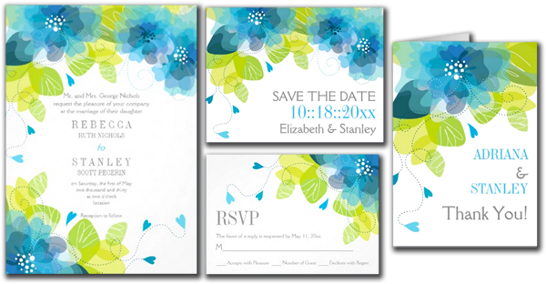 Delicate Blue Flowers Floral Spring Wedding Invitation Card