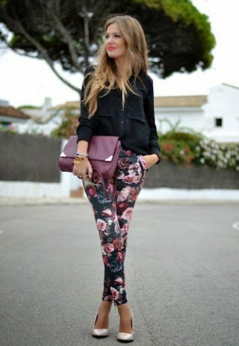 Blackc top, floral printed pants, heels, clutch | Women Fashion