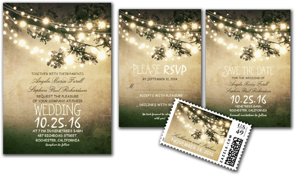 Rustic Tree Branches & String Lights Wedding Invites