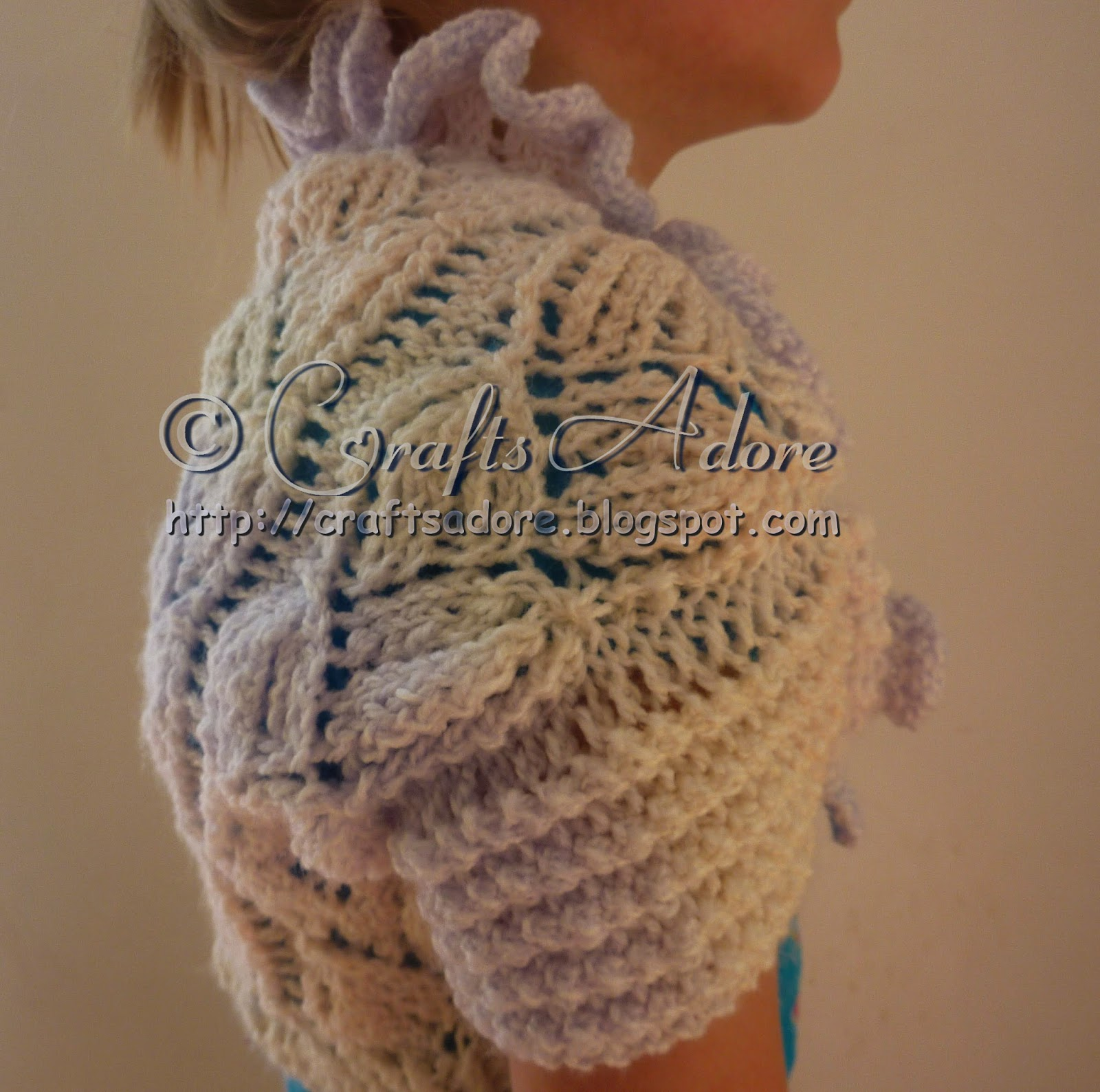 Knitted Girl Lacy Leafs Shrug Free Pattern