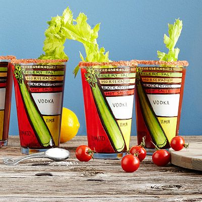 7 Must Have Bloody Mary Items; diagram glasses