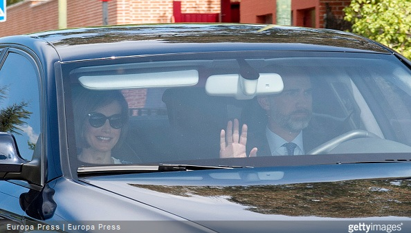 King Felipe VI of Spain and Queen Letizia of Spain are seen arriving at their children school to attend Princess Leonor's first confession some days before her First Communion on April 29, 2015 in Madrid, Spain.