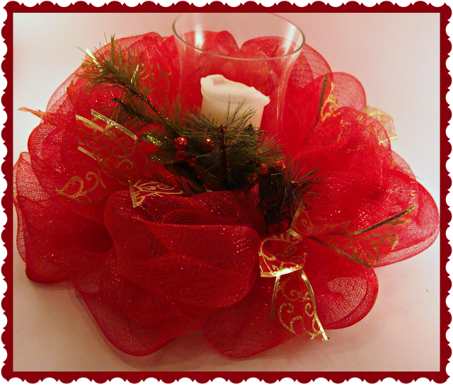 Christmas Decor, Candle holder, Deco Mesh