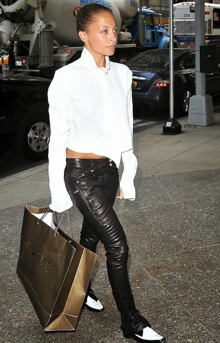 NICOLE RICHIE IN BALMAIN LEATHER BIKER PANT