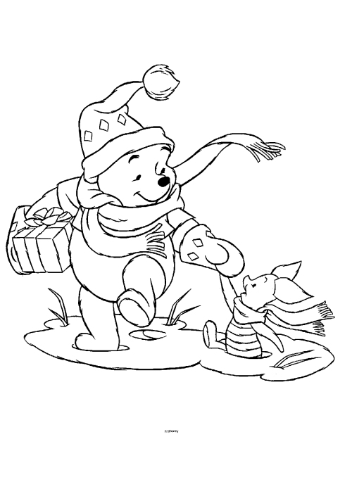 Winnie the pooh christmas coloring pages cartoon for Winnie the pooh christmas coloring pages