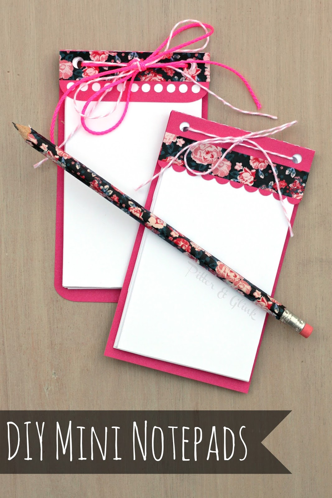 DIY Mini Notepads with Free Silhouette Cut File via pitterandglink.com