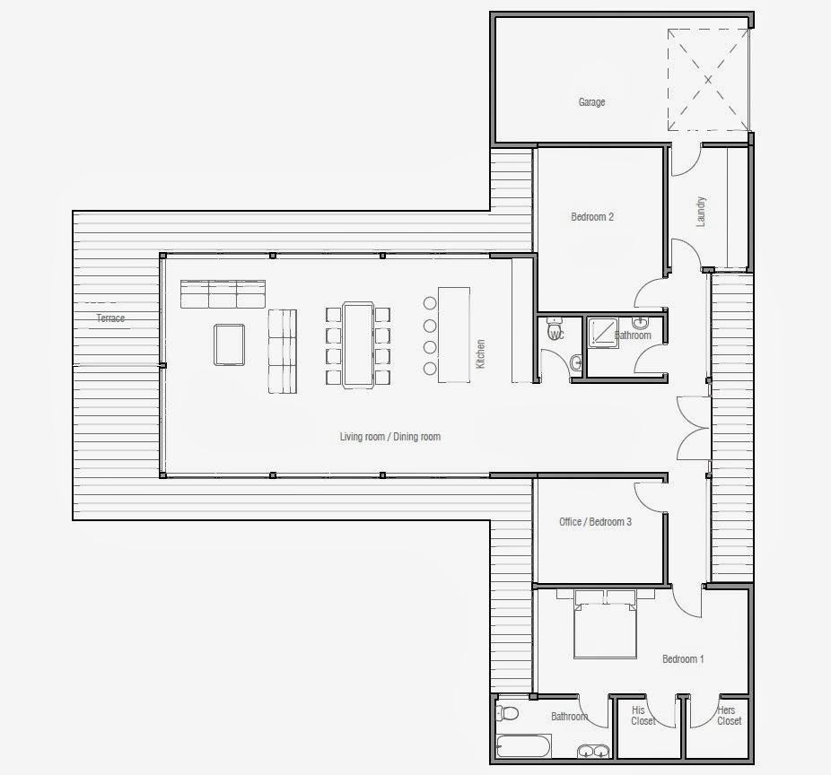 Plantas de casas modernas planta de casa moderna ch164 for Plantas de viviendas modernas