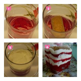 Selang-seli biskut dan filling strawberry