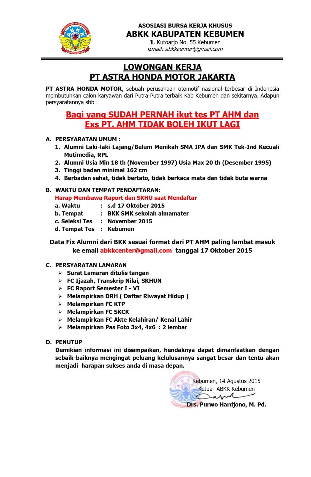 Info Terkini Lowongan Kerja Astra Honda Motor