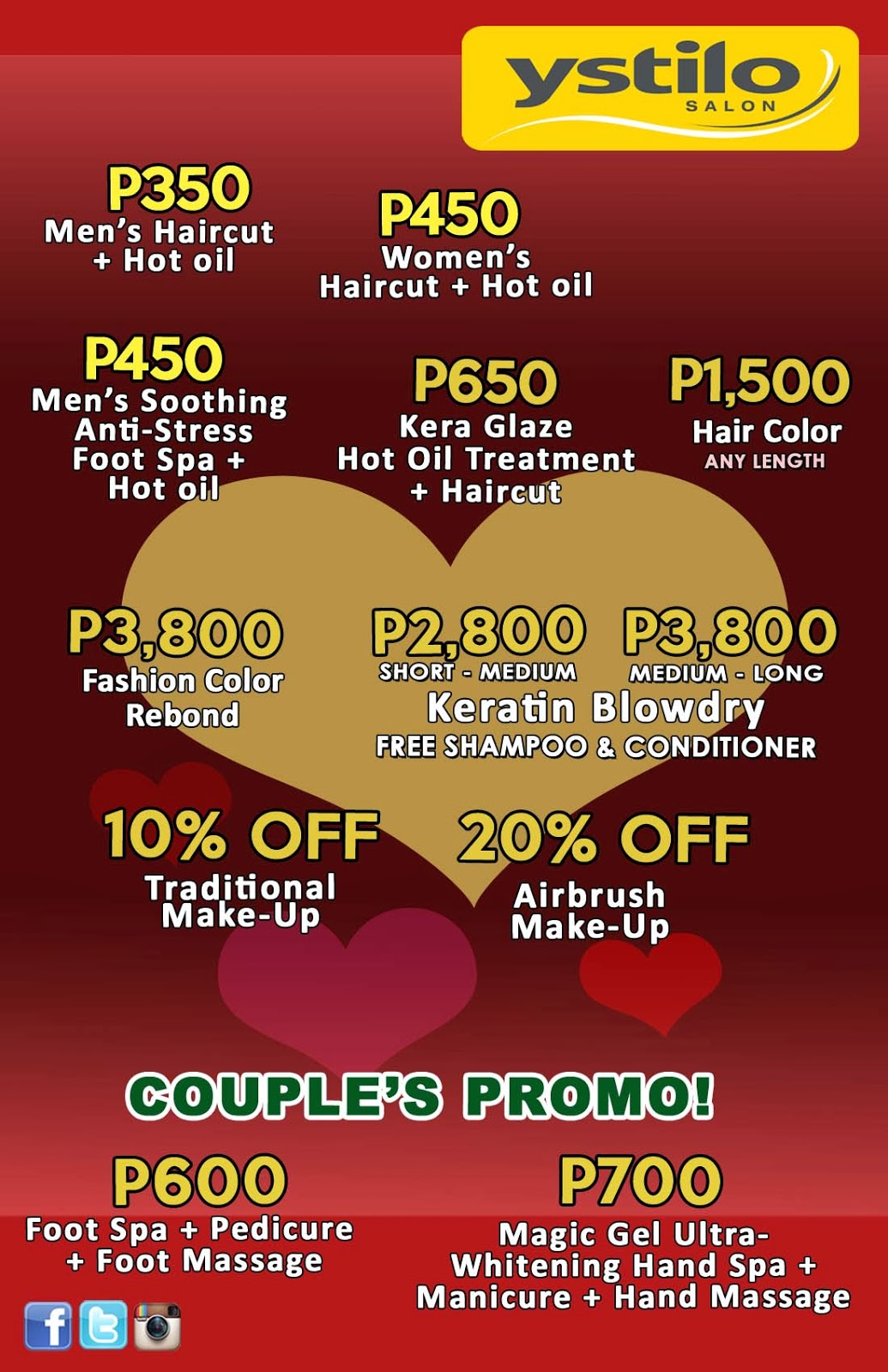 couplestreat at ystilosalon in mall of asia greenhills sm fairview sm davao and robinsons lipa. Black Bedroom Furniture Sets. Home Design Ideas
