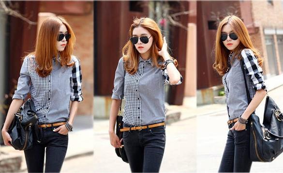Dresslink - Camisa de ganga patchwork quadrados e lisa