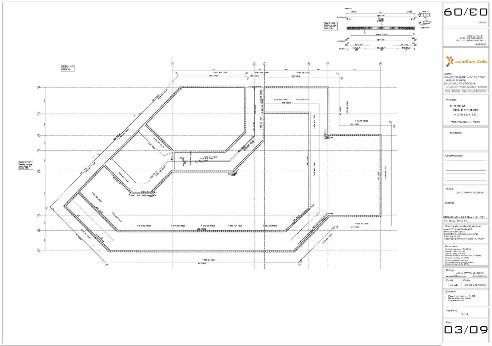 Calculo estructural casa vivientes despiece vigas de for Planos de piscinas semiolimpicas