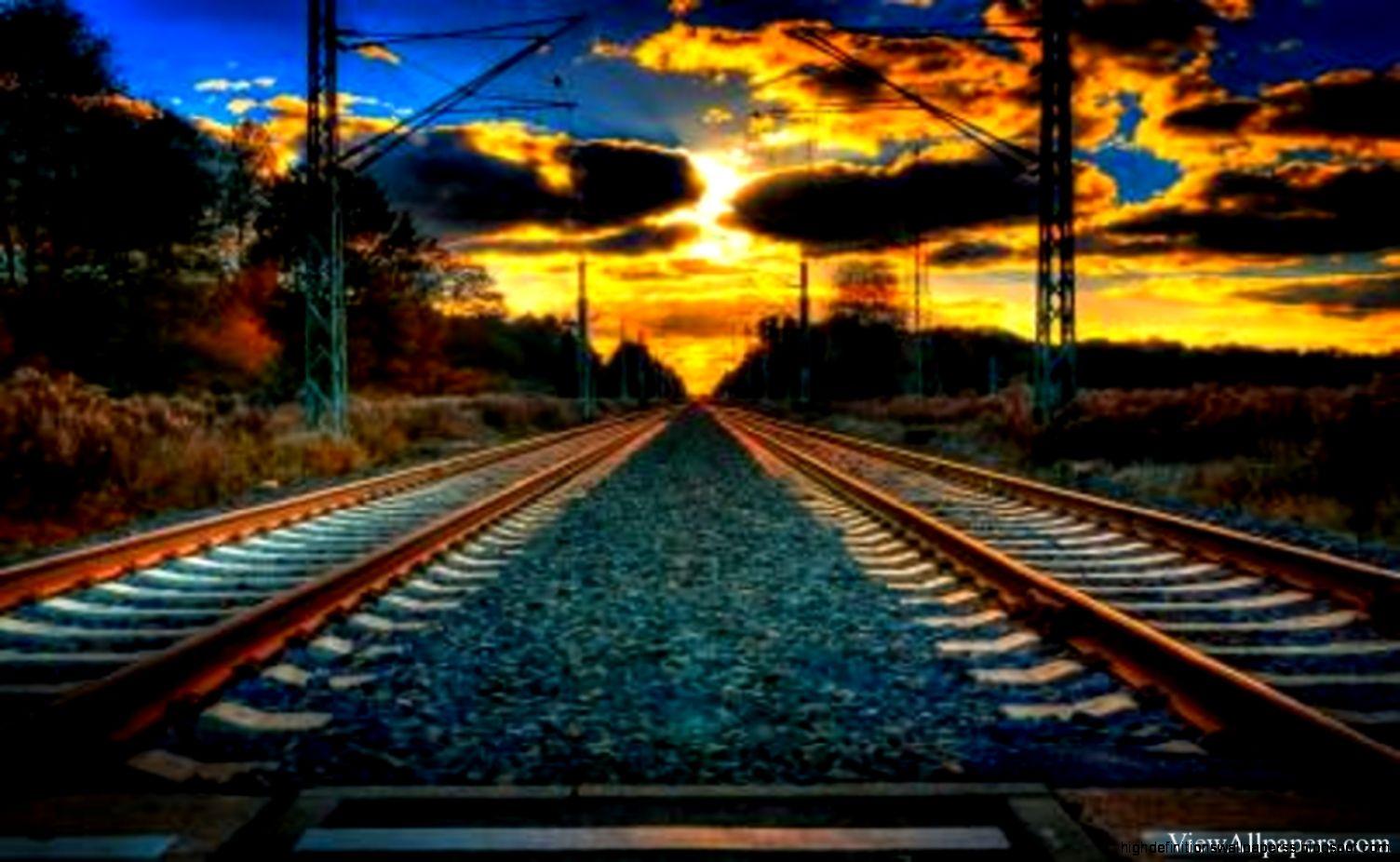 Railway Track Night Wallpaper rail track on the beach wallpapers hd ...