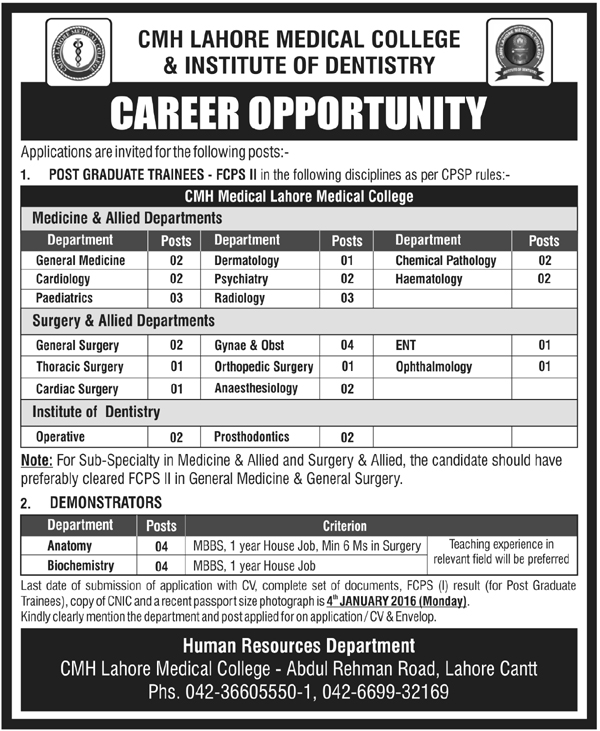 Doctors Jobs in CMH Lahore Medical College & Dentistry