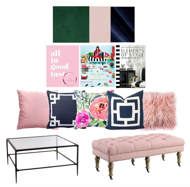 Navy Greek Key Pillows, Kate Spade Books, Pink Living Room, Glass Coffee Table