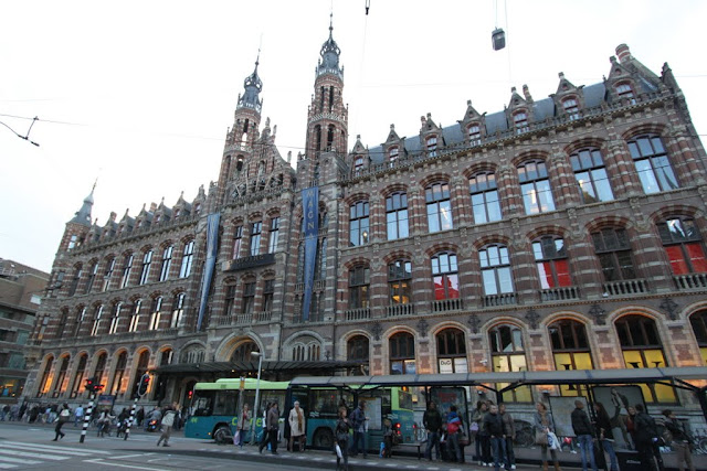 A close view of beautiful architectural building of Magna Plaza in Amsterdam, Netherlands