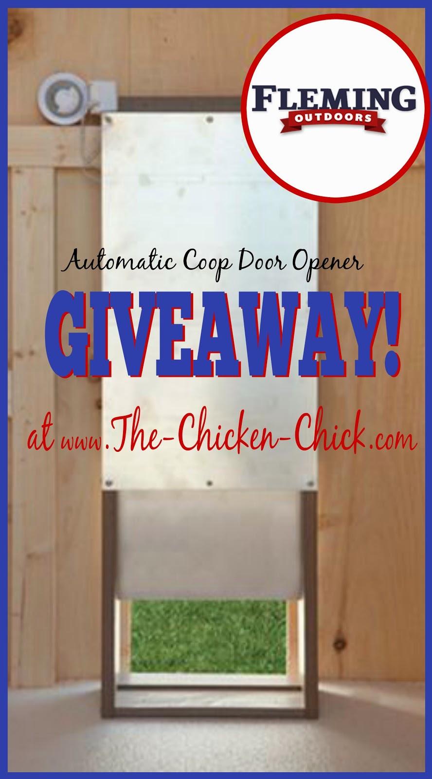 Giveaway of an Automatic Chicken Coop Door Opener, courtesy of Fleming
