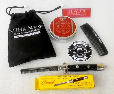 Paket Hemat Pomade Beaux Medium + Switchblade Comb (SB) + Pouch + Stiker + Sisir Saku