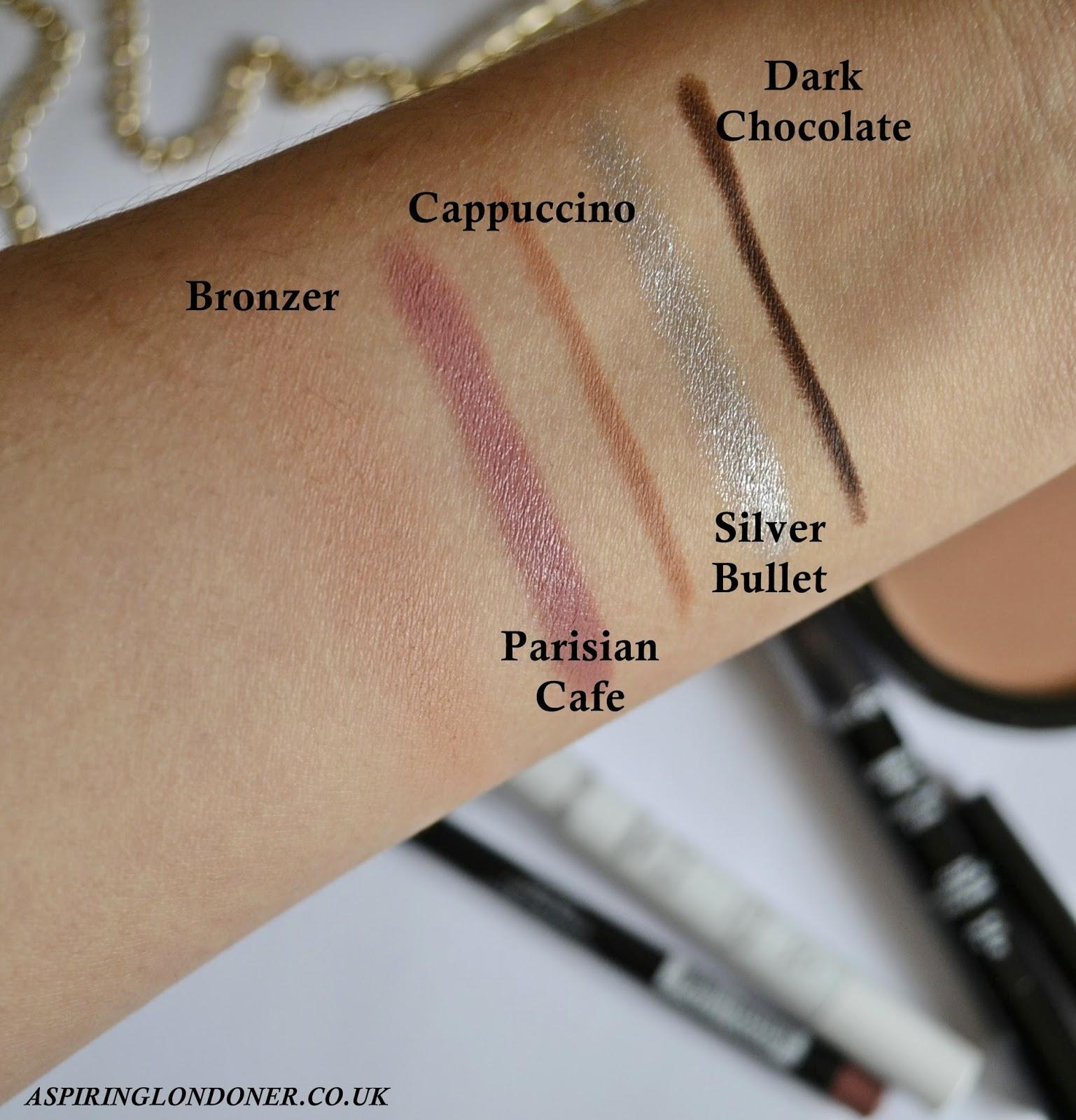 Crown Brush Makeup Swatches ft Bronzer, Chubby Lip Pencil, Eyeliner Eyebrow Pencil - Aspiring Londoner