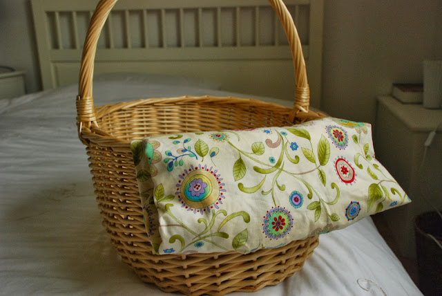 image of wicker basket and material