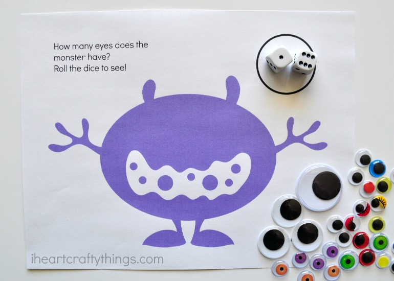 picture regarding Printable Googly Eyes titled Monster Eyes Counting Match Preschool Printable