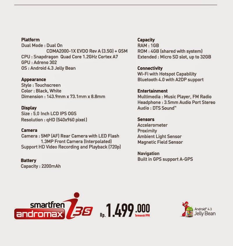 Spesifikasi Andromax i3s
