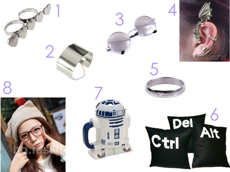 ebay wishlist, heart double finger ring, metal cuff bracelet, round sunglasses, dragon ear clip, lotr ring, ctrl alt delete pillows cushion covers, r2-d2 r2d2 mug cup, cat ear knit cap