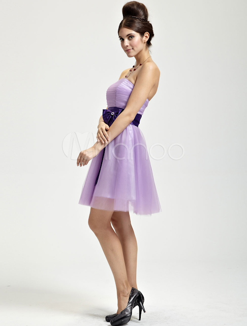 China Wholesale Clothes - Romantic Lilac Tulle Strapless Knee Length Womens Cocktail Dress