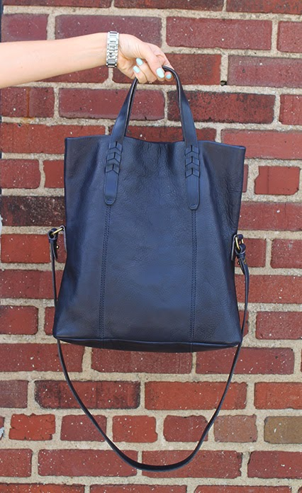 navy leather tote, dylan tote, madewell tote, carry-all bag, navy tote, leather tote, fold-over tote, madewell purse