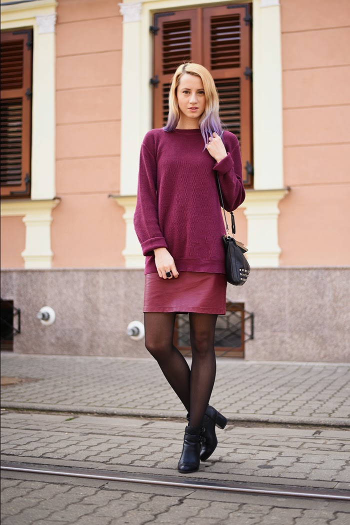 Skinny Buddha burgundy sweater faux leather skirt marsala